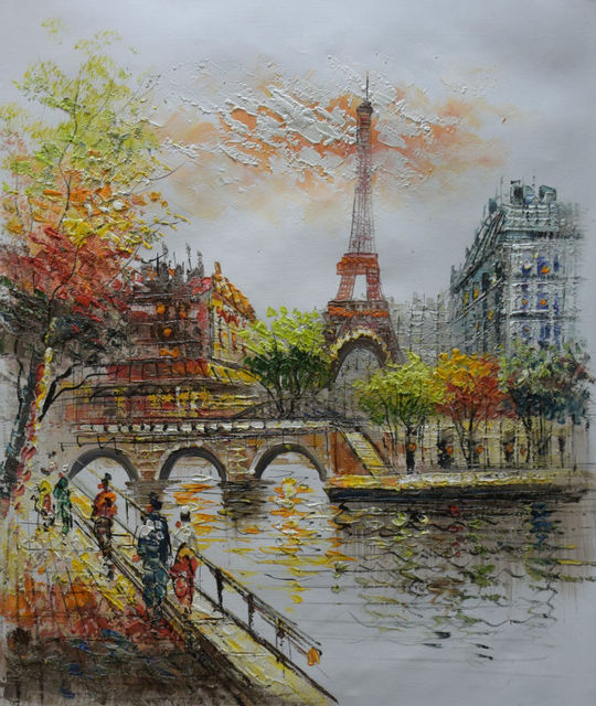 Hand Painted European Landscape Oil Painting on Canvas