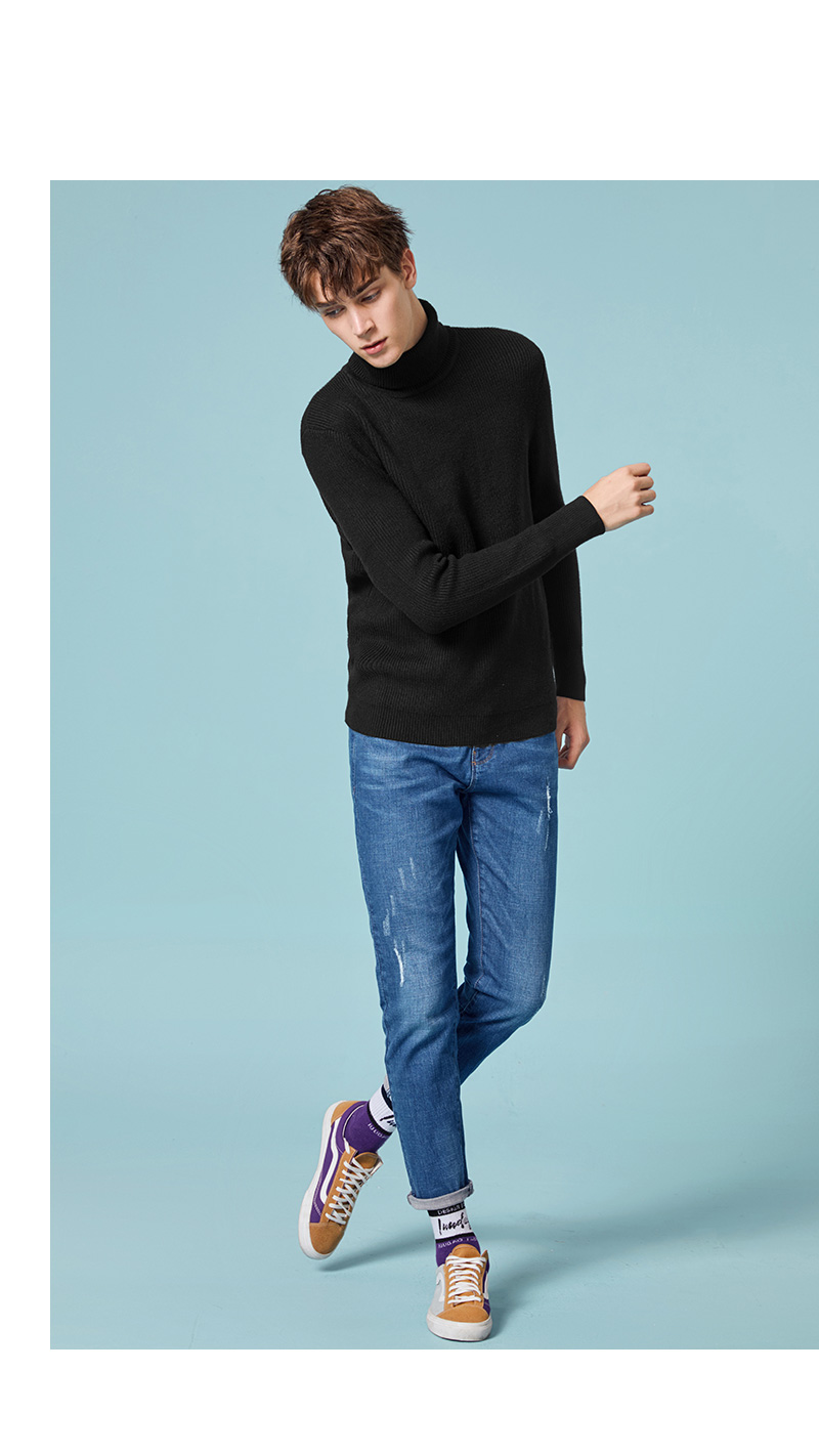 SEMIR Winter Warm Turtleneck Sweater Men Double Collar Fashion Solid Knitted Mens Sweaters 18 Casual Male Slim Fit Pullover 8