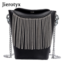 JIEROTYX Classical Female Bag Medium size Tassel Shoulder bag in Buckets Leisure Leather High-end Handbag Luggage Travel Bags
