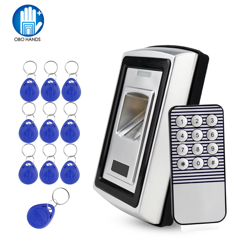 RFID Standalone Metal Fingerprint Scanner Biometric Identification 125KHz Electric Lock With 10 Keys For Access Control System biometric face and fingerprint access controller tcp ip zk multibio700 facial time attendance and door security control system