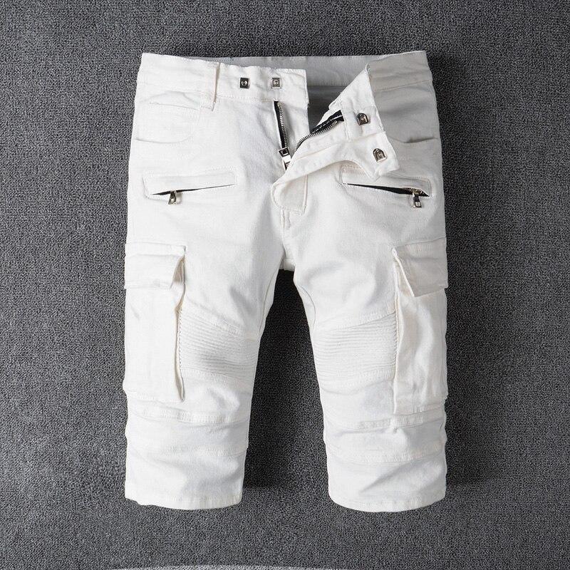 2018 Nuovo di Modo di Estate Dei Jeans degli uomini di Shorts Colore Bianco Grande Tasca Cargo Shorts Uomini di Alta Street Punk di Stile Breve biker Jeans Degli Uomini Dei Jeans