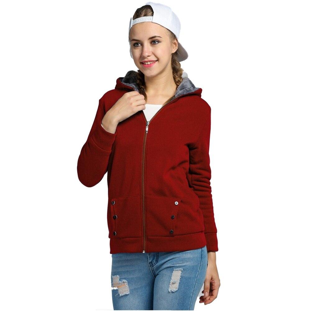 TKOH Womens Hoodies Warm Fleece Cotton Coat Zipper Outerwear Sweatshirts(Wine Red,L)