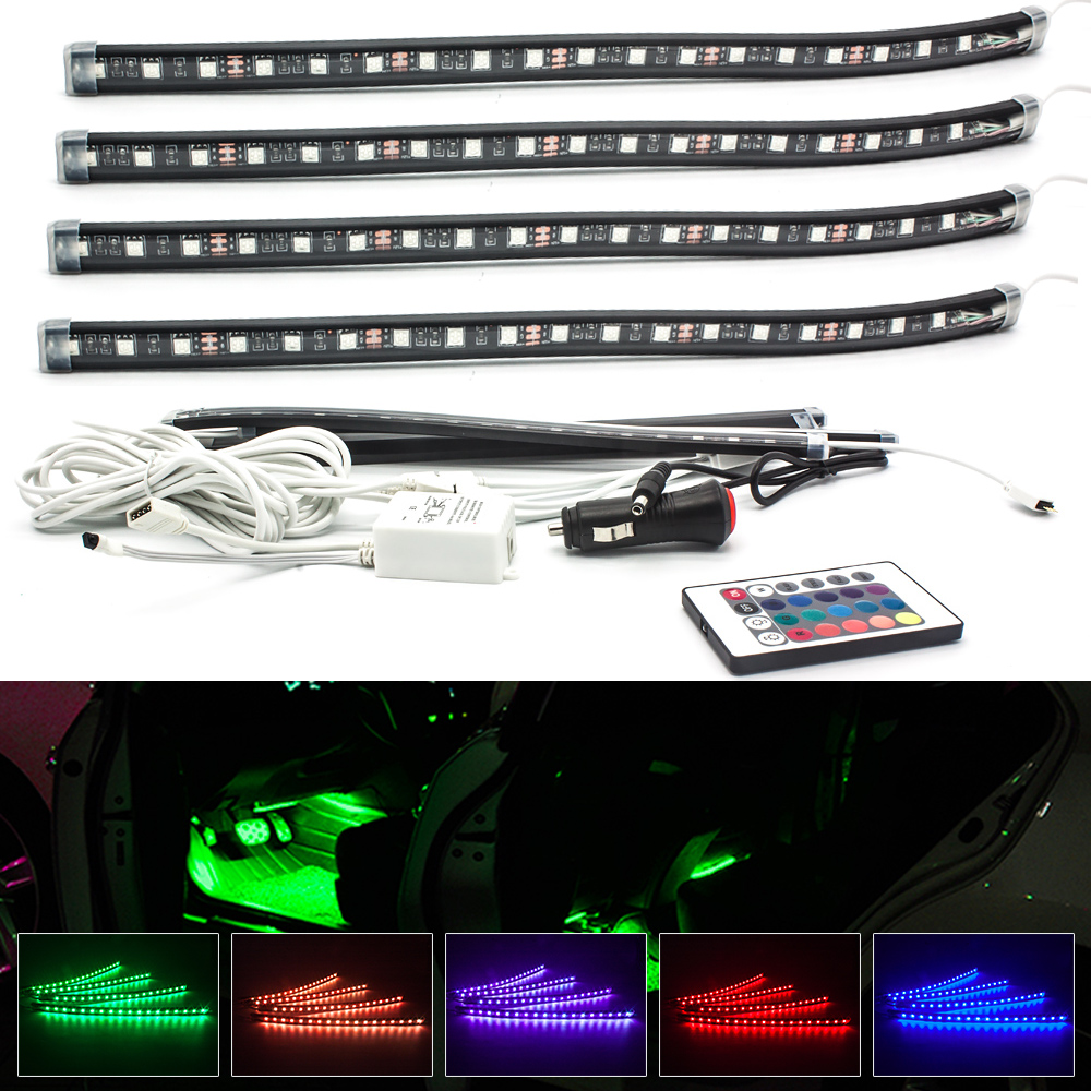 4X LED Car Interior Lighting RBG Strip Light Car Styling Decorative Atmosphere Lamp Wireless Remote Multi Color Split type Bulb