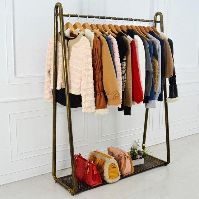 Perchero de hierro forjado ropa piso estante perchas almacenamiento ...