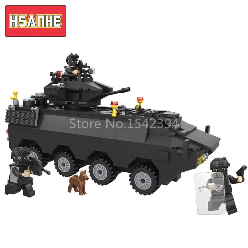 kazi city police station swat helicopter speedboat diy model building kits education toys for children festival gift for friends HSANHE Police Armored Car DIY Model Building Kits Brick Educational Toys Blocks Swat With Gun Figures Children Toys Friends Gift