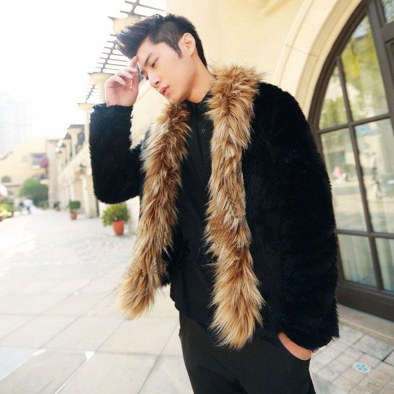 Best selling! 2017 new mens fur collar coat Winter fashion black warm slim rabbit faux fur jacket Luxury fox fur collar coats