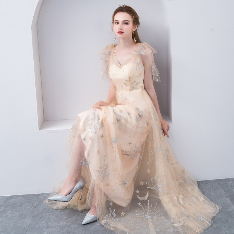 ruthshen V-Neck Light Champagne Special Occasion Gowns A-Line Ruched Sleeves Lace Vestido De Festa Curto Long Prom Dresses