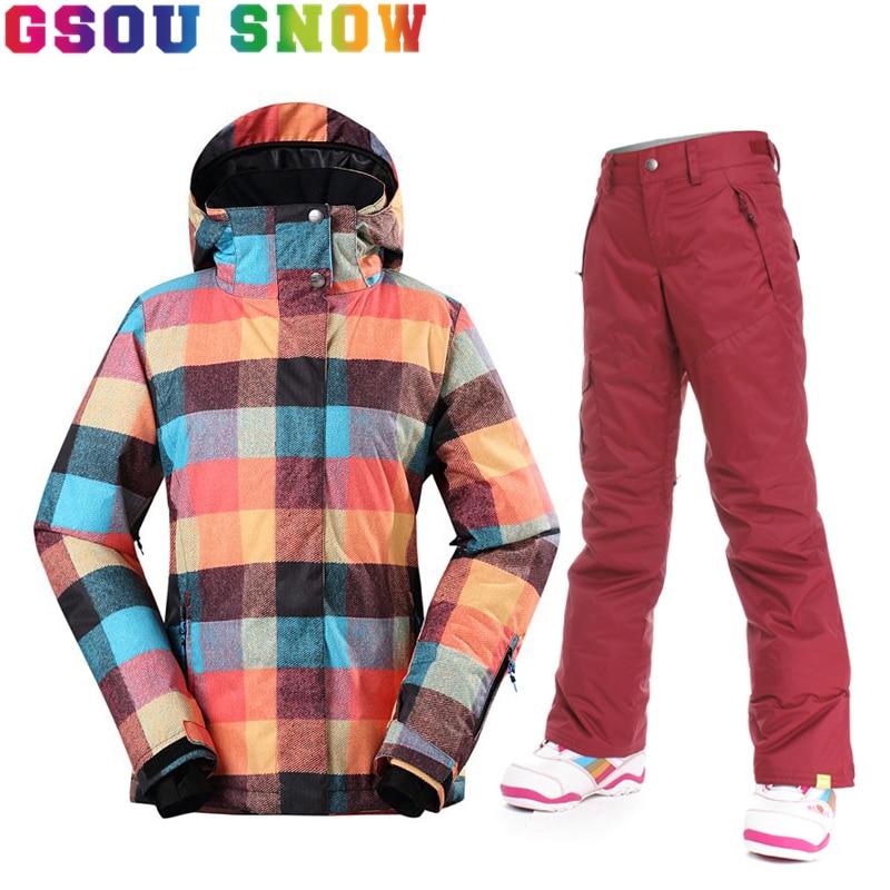Oferta nueva gsou snow women snowboard chaqueta de esquí espesar pantalones de i