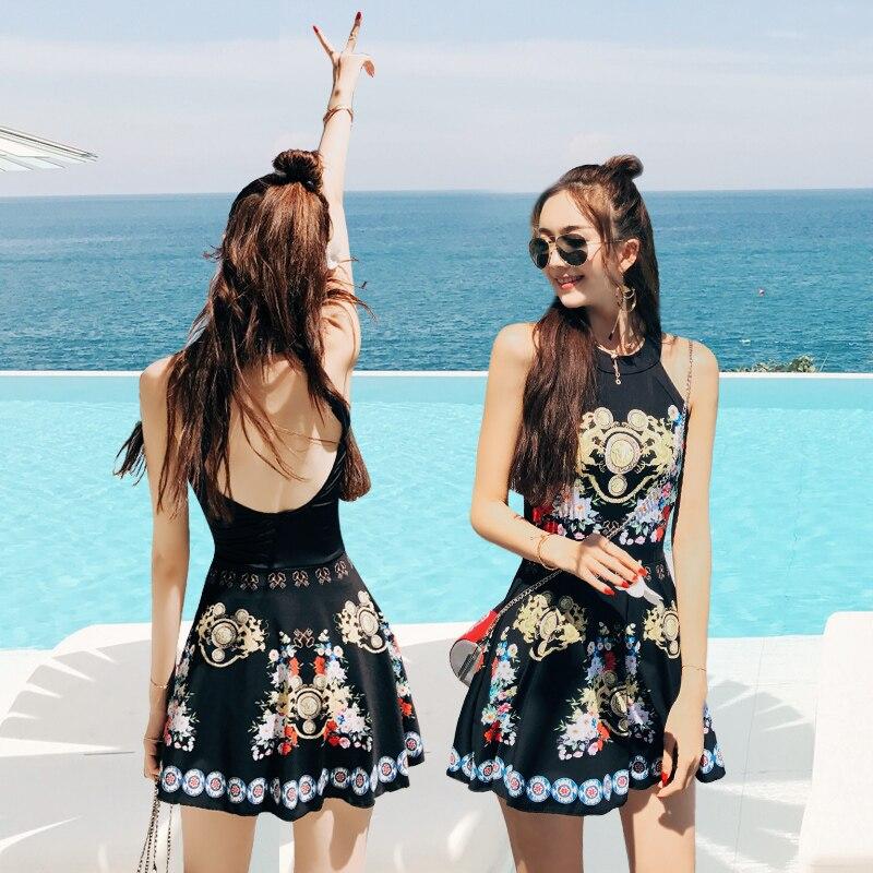 Fille maillot de bain taille haute maillots de bain femmes Style ethnique maillots de bain une pièce noir dos nu jupe licou robe de bain maillot de bain