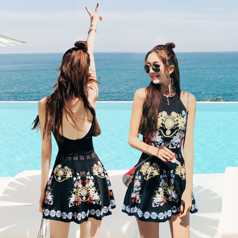 Girl Swimsuit High Waist Swimwear Women Ethnic Style Beachwear One Piece Black Backless Skirt Halter Dress Bathing Swimming Suit ethnic embroidered black cami dress for women