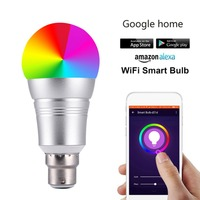 Smart Wifi Dimmable LED Bulb RGBW Night Light E27 E26 E14 B22 Compatible For Amazon Alexa&Google Home APP WiFi Remote Control