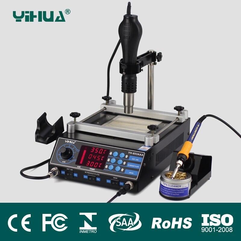 YIHUA 853AAA Bga Rework Station SMD Hot Air Gun Soldering Irons Preheating Station Functions 3 in 1 BGA rework soldering station