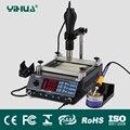 Yihua 853AAA 650 W SMD Pistola de Ar Quente + 60 W Ferros De Solda + 500 W Estação de Pré 3 Funções em 1 Estação de Retrabalho Bga