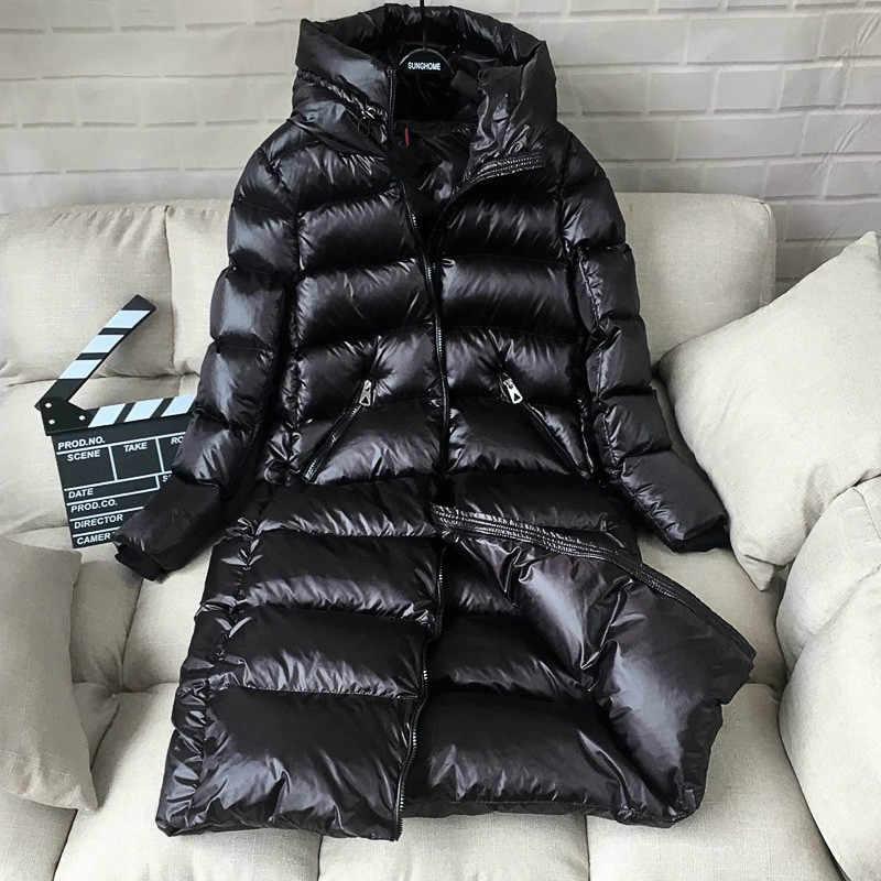 KMETRAM/зимняя куртка для женщин, 90% утиный пуховик, женские куртки-пуховики с капюшоном, корейское толстое теплое женское Меховое манто Hiver MY477