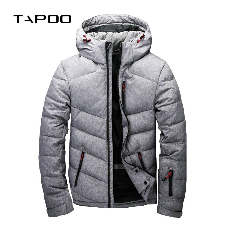 2018 New Brand Winter Mens 80% White Duck Down Jackets Solid Warmed Thick Casual Coats Mens Windproof Detachable Hooded