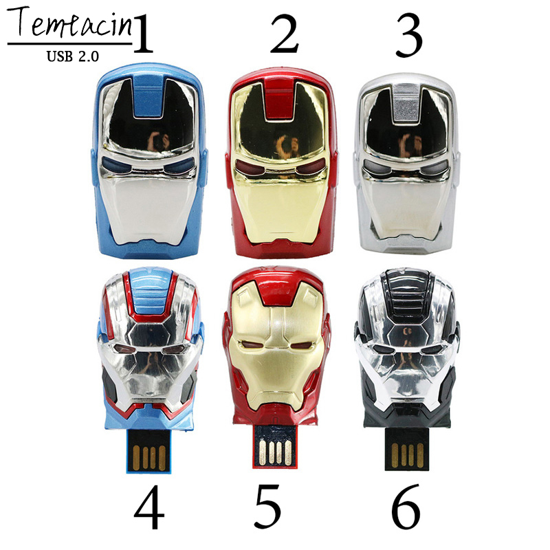 Метал USB Flash Drive 4GB 8GB 16GB PenDrive флэш-назапашвальнікі 32 Gb USB Memory Stick 64GB USB Flash Drive Iron Man Мсціўцы PENDRIVE