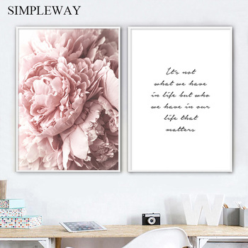 Peony Flower Poster Nordic Motivational Quotes Wall Art Print Canvas Painting Decorative Picture Scandinavian Home Decoration dancing butterfly abstract canvas painting wall art poster and print scandinavian decorative picture modern home decoration