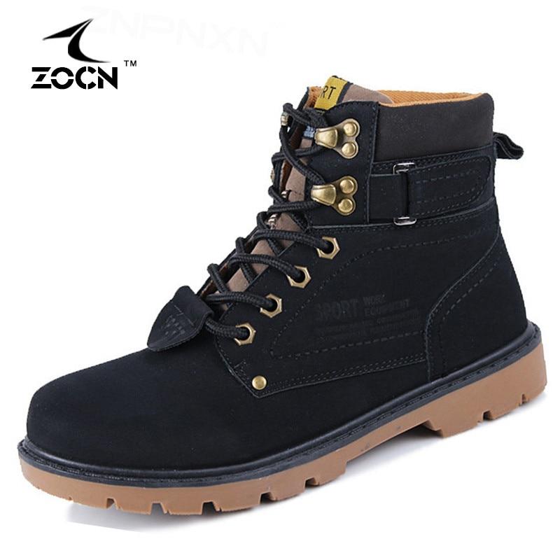 Super Warm Winter Men Boots Artificial Leather Boots Men Winter Shoes Black Work Ankle Fur Boots