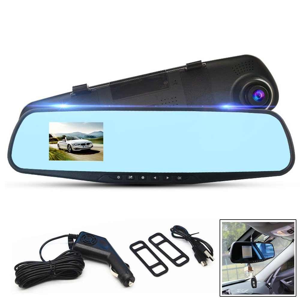 720P 2.8 Inch High Deifinition Dash Camera Vehicle Video Camera Anti-glare Blue Mirror Monitor DVR Dashcam <font><b>Register</b></font> Recorder image