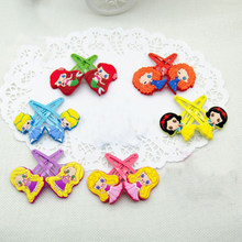 1 Pair kawaii Cartoon Snow White Princess Aurora Merida Rapunzel Ariel Cinderella Hair Pin Hair Clip for Girls Gift Toy Figure(China)