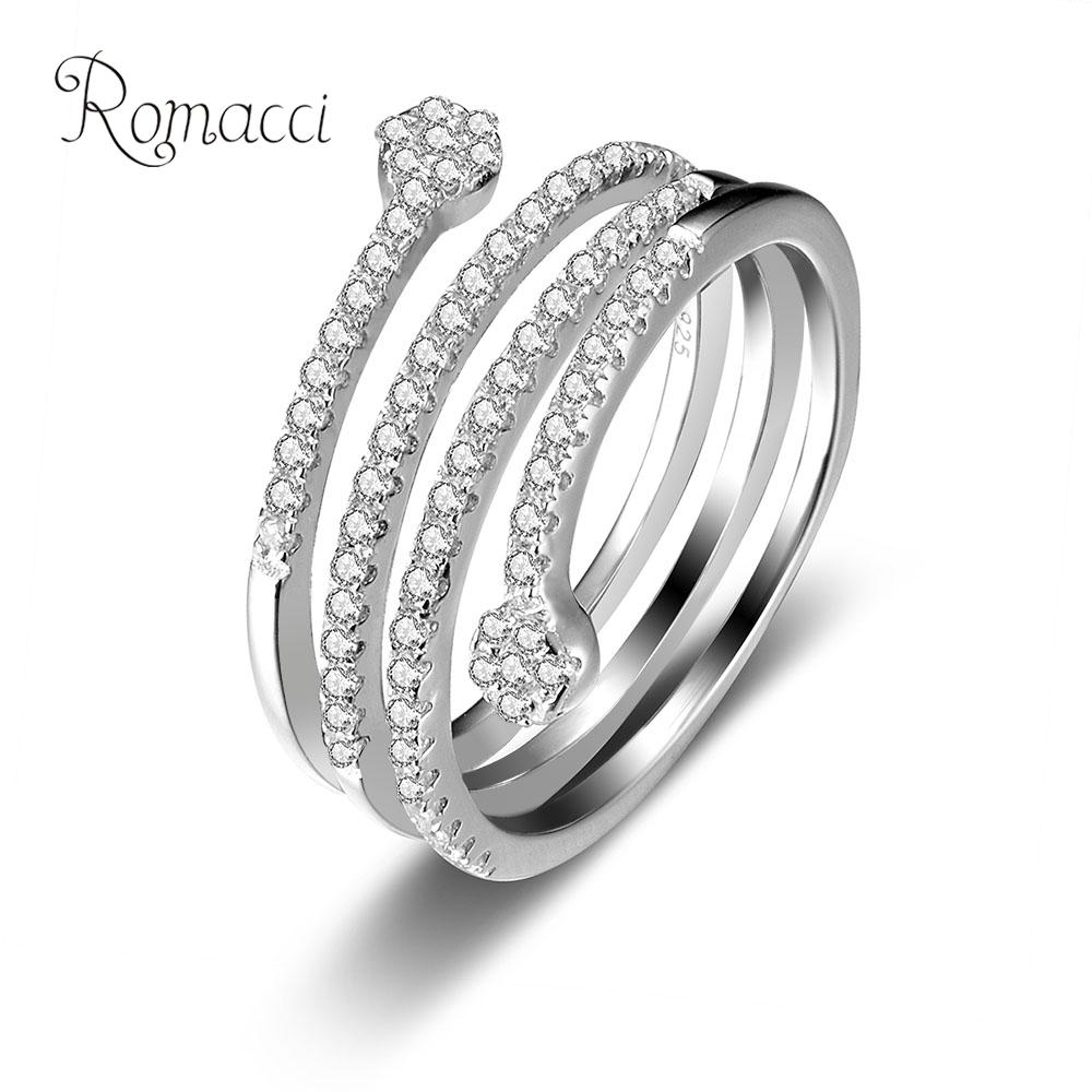 romacci zirconia engagement wedding rings 925 sterling