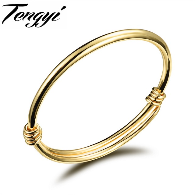 Tengyi Fashion Gold Color Baby Bangle Newborn Infant Gift Adjule Style Clic Lucky Jewelry For