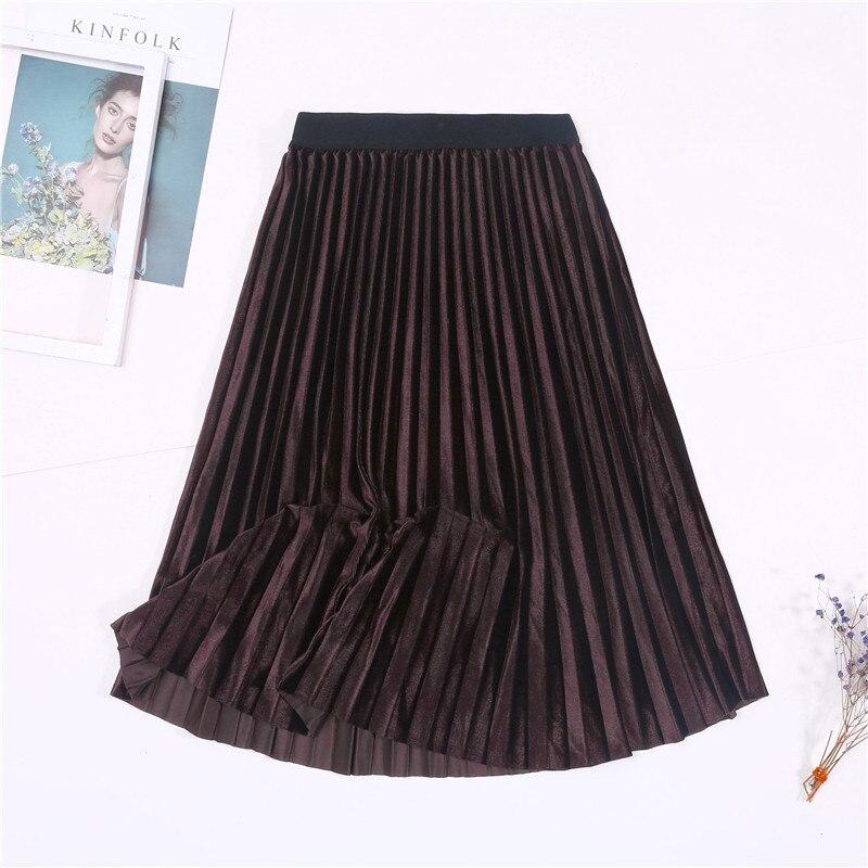 Женская винтажная осенне-зимняя бархатная юбка с высокой талией, элегантные сексуальные обтягивающие черные плиссированные юбки, женские макси юбки, женские s - Цвет: 4 Brown