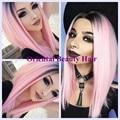 Бесплатная доставка сексуальная two tone ombre черный розовый цвет короткий Боб стиль жаропрочных волос синтетический парик фронта шнурка парик