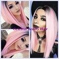 Atractivo del envío libre dos tonos ombre negro al color rosa estilo BoB corto peluca de pelo del frente del cordón sintético resistente al calor peluca