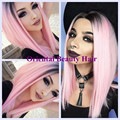 Free shipping sexy two tone ombre black to pink color short BoB style heat resistant hair wig synthetic lace front wig