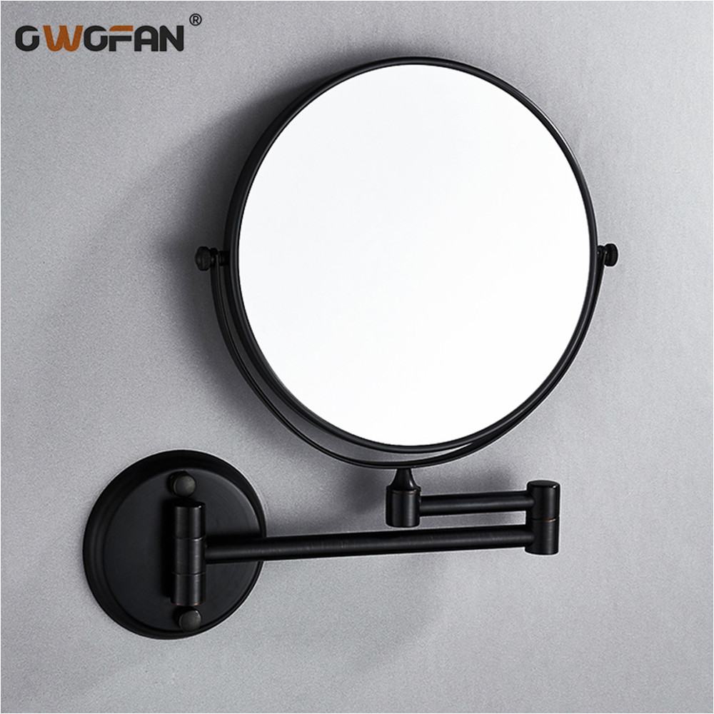 Bath Mirrors 8 Inch Folding Black Bathroom Mirror 7 3X Magnifying Double 2 Faced Makeup Mirror