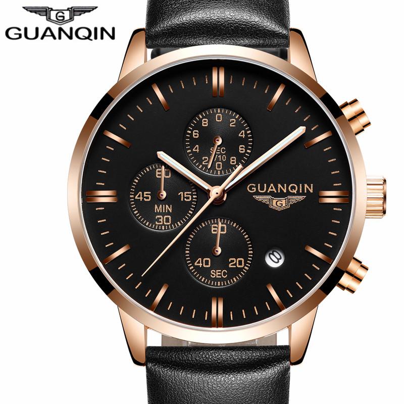 Prix pour GUANQIN Hommes Montres Top Marque De Luxe Célèbre montre Hommes Montres mâle Horloge montre À Quartz cadran noir Montres erkek kol saati