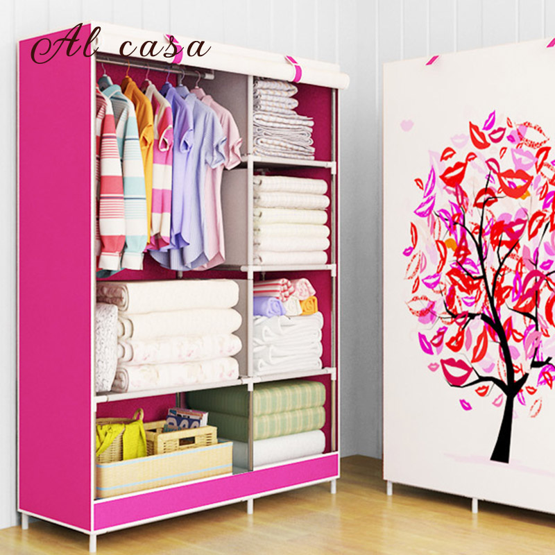 Купить с кэшбэком Newest free shipping thick non-woven wardrobe fold Portable Storage clothes Cabinet closet children bedroom furniture