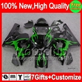 7gift  For SUZUKI GSXR750 2004 2005 GSXR600 K4 2MC890 GSX R750 Green flames R600 04-05 GSXR 750 600 04 05 Fairing  Green black