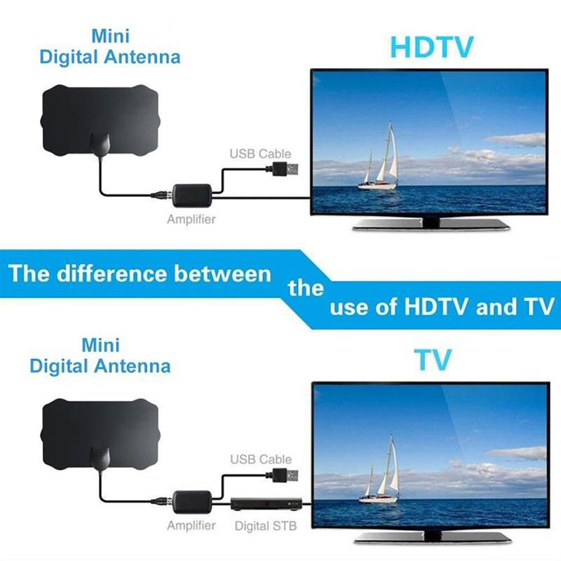 Image 2 - 120 Miles Antena Digital HDTV Indoor HD TV Antenna with Amplifier Signal Booster TV Radius Surf Fox Antena HD TV Antennas Aerial-in TV Antenna from Consumer Electronics
