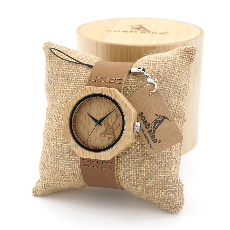 BOBO BIRD Natural Bamboo Wood Quartz Watches Women Watches with Deer Head Dial with Real Leather