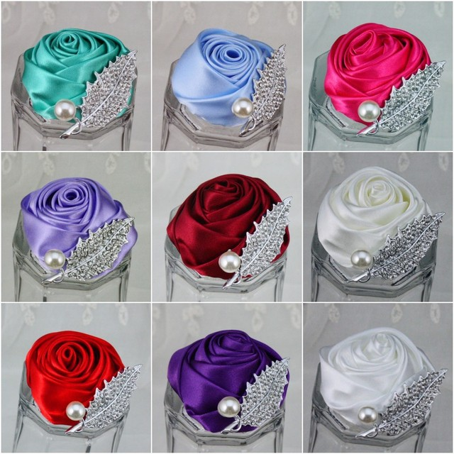5Pcs/lot New Wedding Groomsman Groom Boutonniere Party Prom Man Corsage Hand Custom Made Satin Rose Men Suit Brooch Pin Flower