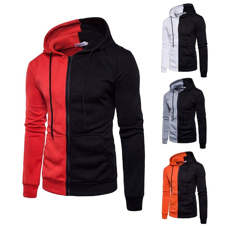 Autumn Fashion Casual Patchwork Hoodies Men/women Hooded Sweatshirt Slim Fit Pullover Hoody Leisure Zipper Jacket Tracksuit