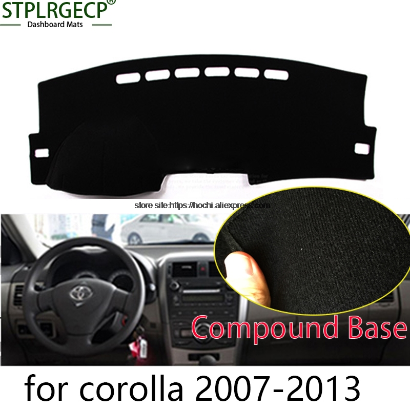STPLRGECP double layer Black Dash Mat For toyota corolla 2007-2016 Dashmat Black Carpet Car Dashboard Automotive interior Mats