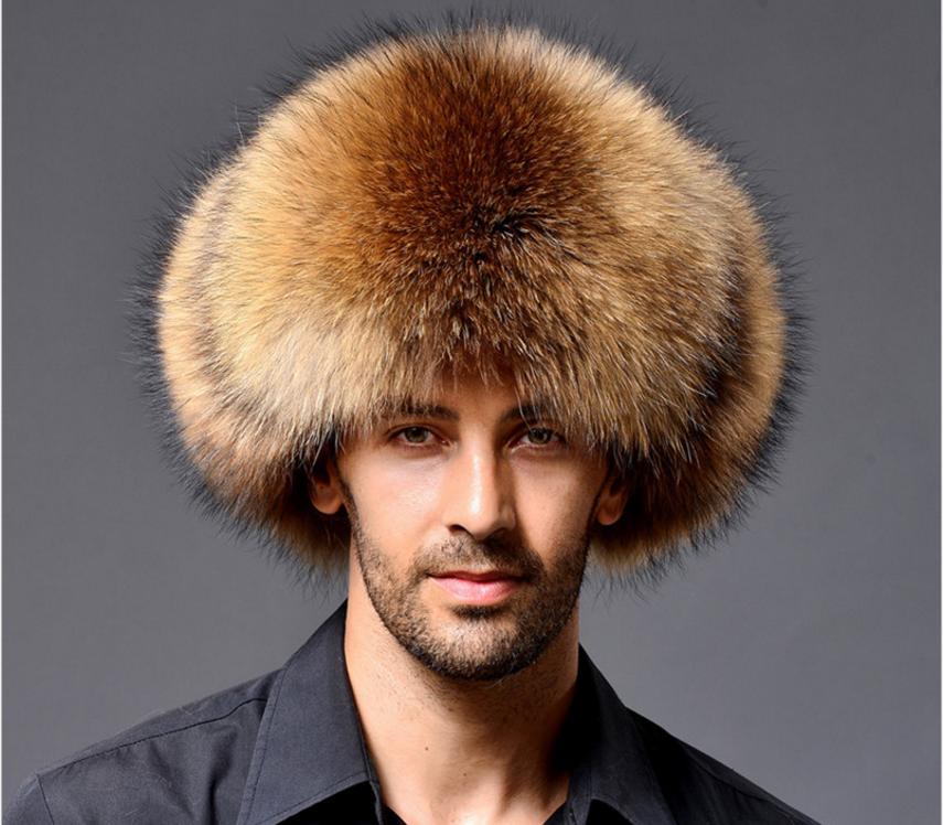 Hommes pilote hiver chaud raton laveur fourrure peluche russe cosaque Chapeau de trappeur noir