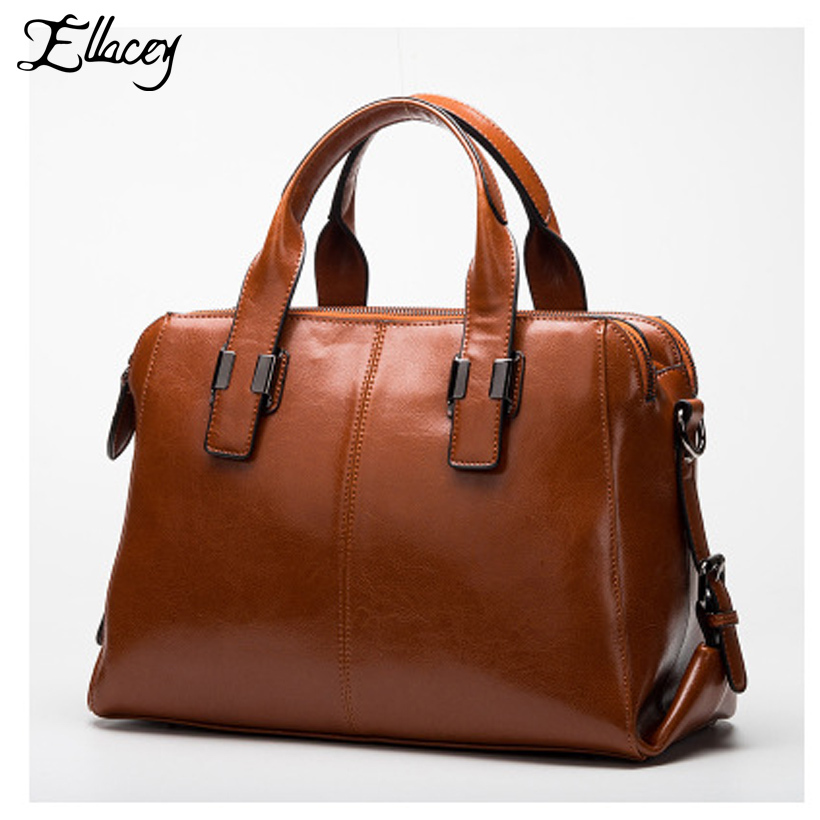 Luxury Cow Leather HandBags Women Genuine Leather Tote Bags Ladies Large Messenger Bag Quality Designer Brand Fashion Boston Bag 2017 new brand shoulder bag large fashion women bag ladies hand bags luxury designer handbags women messenger bags casual tote