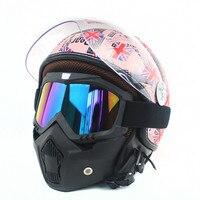 De Global Hot Sales Vintage Lederen Harley Helmen 3/4 Hoge Kwaliteit Open Gezicht Vintage Motorhelm Met Goggle Masker