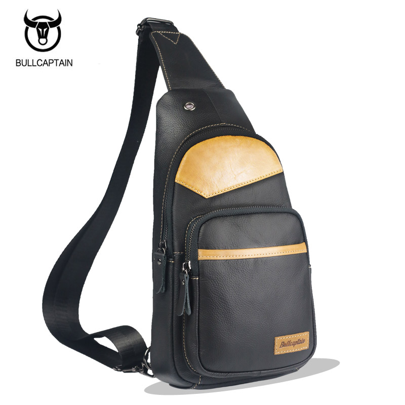 BULLCAPTAIN Genuine Leather Single Shoulder Bags Men Chest Packs Bag Brand Casual Men Messenger Bag Unique Design Crossbody Bags bullcaptain new arrival men chest bag genuine leather men bag brand designer leather messenger bags casual mens crossbody bags