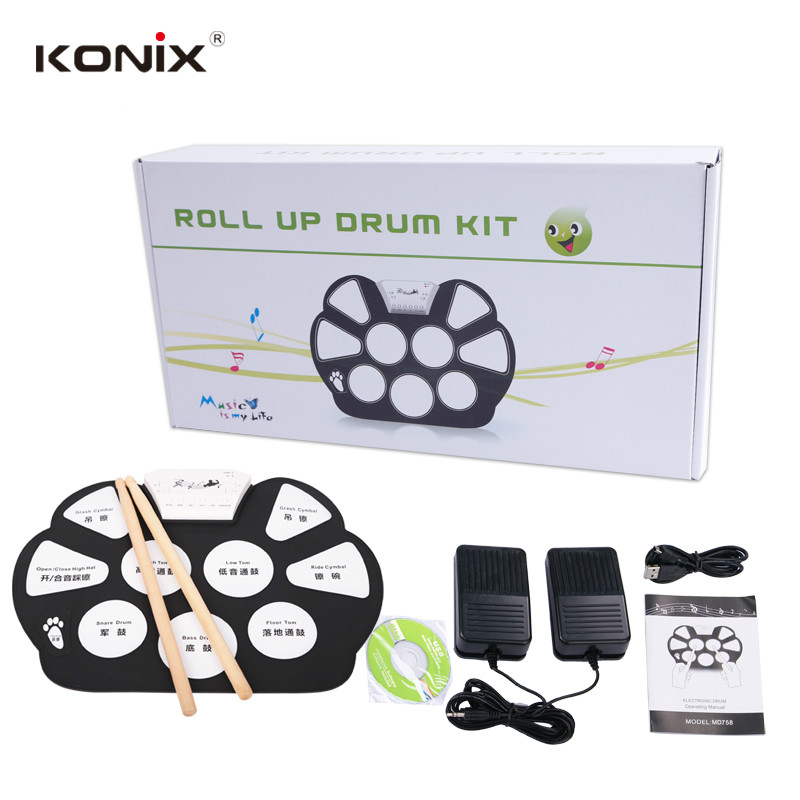 konix hot electronic drum set usb midi machine roll up drums kits with drum sticks 5 drum 9 pad. Black Bedroom Furniture Sets. Home Design Ideas