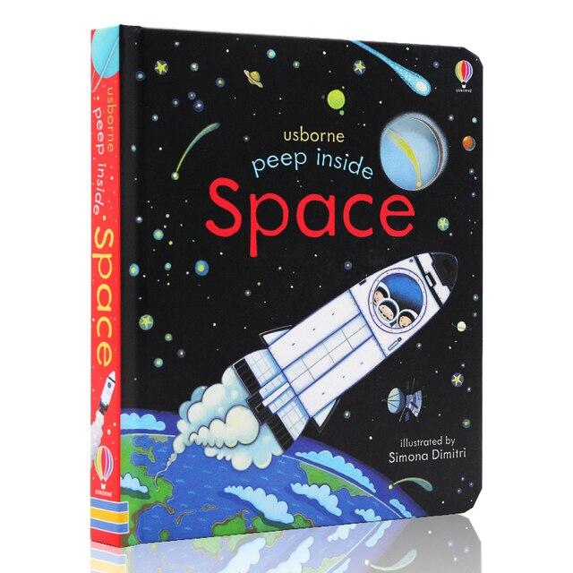 Peep dentro espacio educativo inglés solapa libros del bebé para los niños del bebé libro de lectura