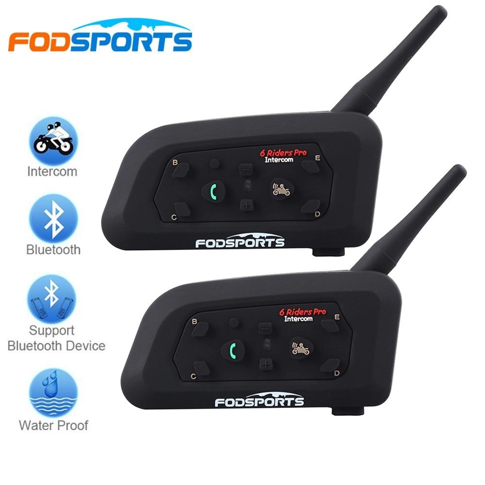 2018 Fodsports 2 pcs V6 Pro Motorcycle Helmet Bluetooth Headset Intercom 6 Riders 1200M Wireless Intercomunicador