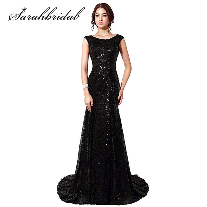 Vintage Lace Mermaid Mor Brudekjoler Vestido De Madrinha Svart Sequined Long Women Elegant Kjole SD197