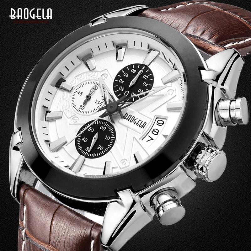 BAOGELA Fashion Analog Hot Luxury Leather Brand Watches Men's Quartz Casual Chronograph Hour Luminous Male Wristwatch все цены