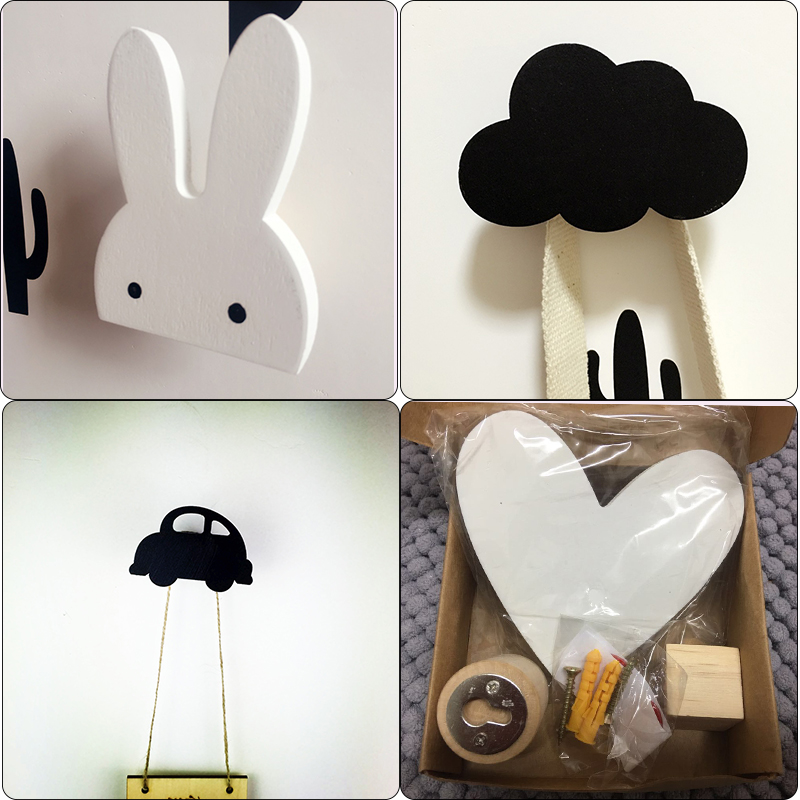 Nordic Kids Room Wall Hooks Bunny Wood Clothes Hook For Kids Room Decoration Scandinavian Children Room Hanger Hook Wall Deco