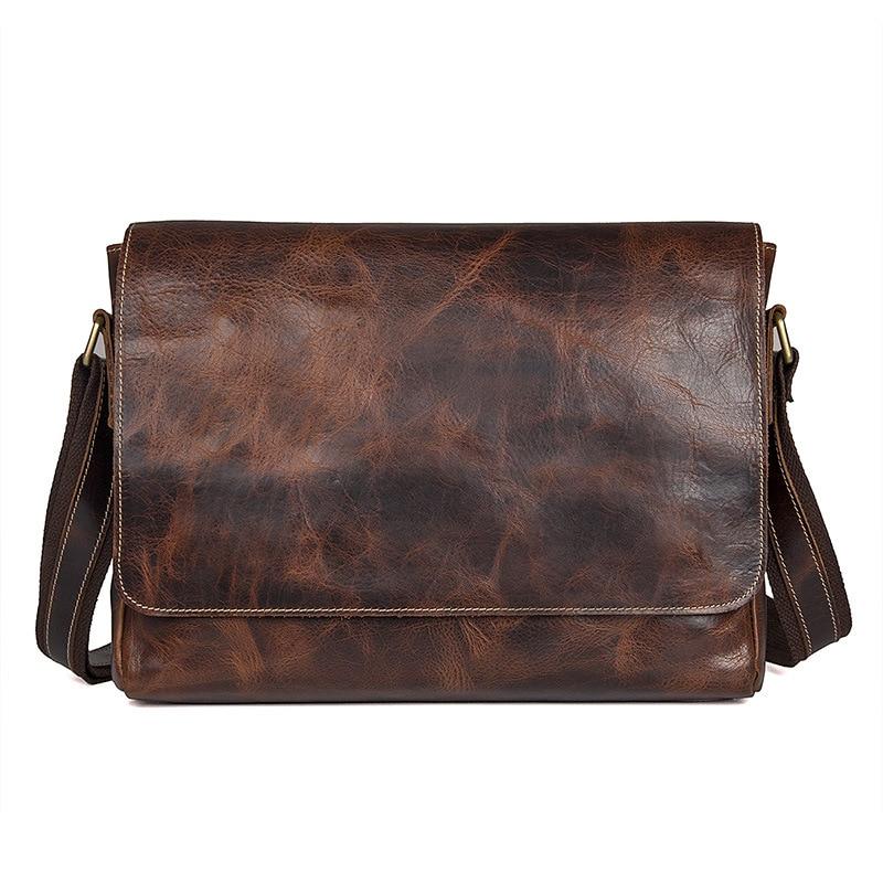 Nesitu Vintage 100% Genuine Leather Men Messenger Bags Cow Leather Shoulder Crossbody Bags Men